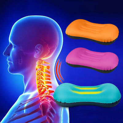 Travel Inflatable Portable Pillow Air Cushion Sleep Car Plane Head Rest Support
