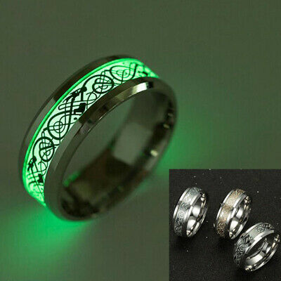 Cool Men Women Stainless Steel Luminous Band Ring Dragon Glow In The Dark Conve