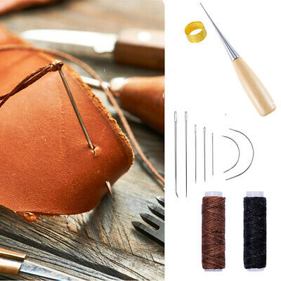 Handle Sewing Tools Drilling Awl Needles Waxed Thread Cord Leather Craft Tool