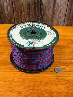 Large 6 lb roll General blue and red twisted plastic coated wire