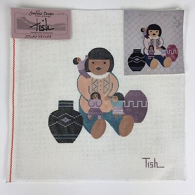 "Sundance Designs Tish Storyteller Handpainted Needlepoint Canvas 7""x7"", 14 count"