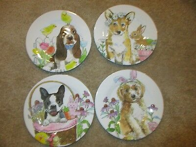 4 Melamine Dog Bunny Easter Plates BASSET HOUND Beagle Boston Terrier NEW
