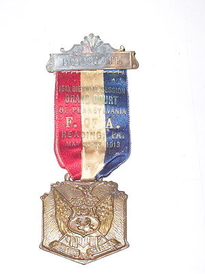 """May 20-23, 1913 """"F.of A.15Th Biennial Session-Grand Court Of Pa. """"Pinback&Ribbon"""