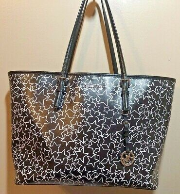 1cf90c41dadb25 Michael Kors Jet Set Large Carry All Tote - Black White Stars - Limited  Edition