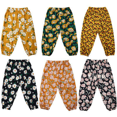 Loose Breathable Pants Toddler Kid Baby Girls Bottom Floral Trousers Summer 0-5Y