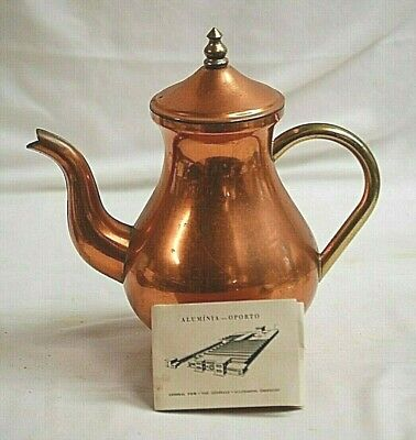 Old Vintage TAGUS Copperware ODI Solid Copper Tea Pot Kettle w Lid Tag Portugal