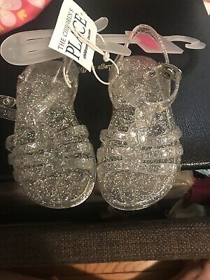 2a1422d4fbfe NWT The Childrens Place Girls Pink Glitter Jelly Gladiator Sandals Shoes