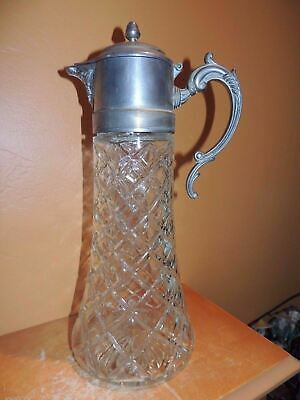 "Large Pressed Glass Carafe/ Claret 14"" Silver Plate Art Deco Pitcher Vintage"