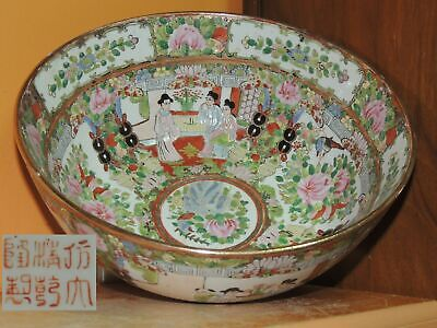 "Chinese 9.75"" Rose Medallion Punch Bowl Antique 19th late Qing famille canton"