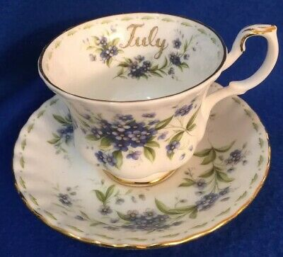 Royal Albert Flower Of The Month Tea Cup & Saucer Set JULY - Forget-Me-Nots