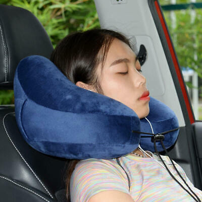 Portable Inflatable Travel U Pillow Neck Support Head Rest Airplane Cushion MA