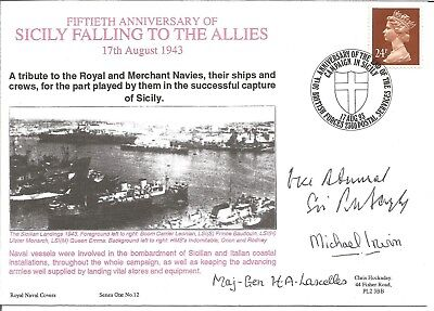 Sicily Falling to the Allies signed Navy cover. Commemorates 50th ann. M607