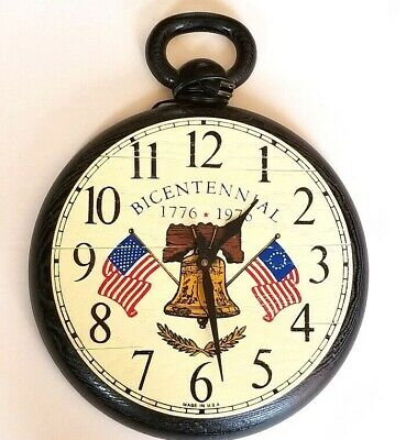 Vintage Bicentennial 1776 - 1976 Made in USA Faux Wood Wall Clock TESTED Working