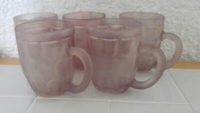 Vintage Israel Hebron Art Stained Glass Hand Painted Set 5 Coffee Tea Cup Cups
