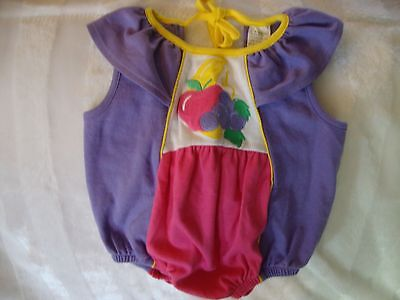 Baby Girls Vintage Knit Purple Embroidered Fruit Gerber Bubble Romper 0 - 6 Mos