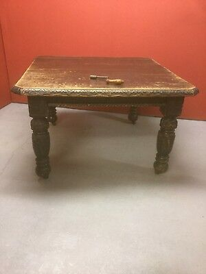 Antique Carved Oak Extending Dining Table 170a