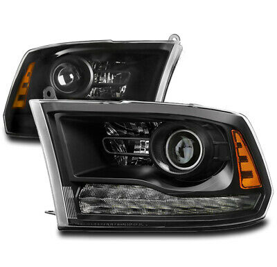 For 13-18 Dodge Ram 1500 2500 3500 Projector Headlights Headlamp Lamp Black Pair