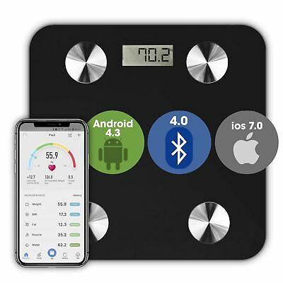 Wireless Bluetooth Digital Body Fat Scale BMI Bathroom Health Analyser 180KG