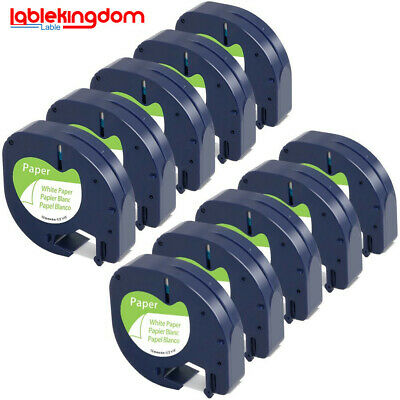 10x lable tape 91200 91220 white paper 12mm by 4m for DYMO LETRATAG label makers