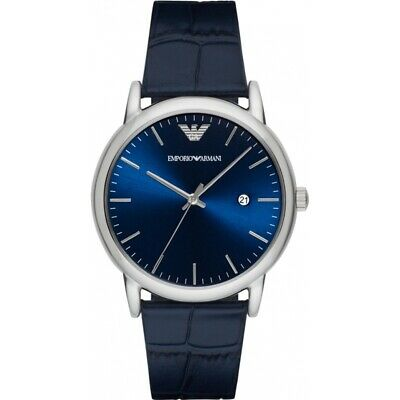 New! Emporio Armani Gents Classic Blue Leather Strap Blue Dial AR2501 Mens Watch