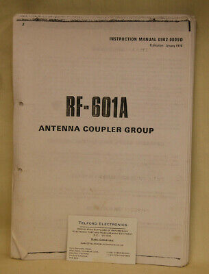 Harris RF Communications Division. RF-601A Antenna Coupler Group Instruction