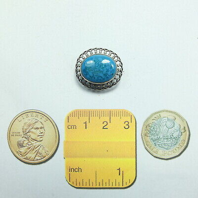 Pretty Antique Edwardian Tiny Silver Blue Stone Brooch Marked STERLING SILVER