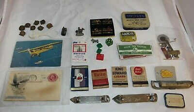 Junk Drawer Lot Opener Small Tins Matchbooks Pins Needles Sharpener Misc.