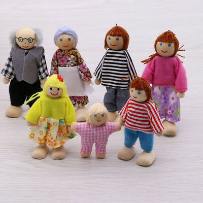 Wood Furniture Dolls House Family Miniature 7 People Doll Toy For Kids Children