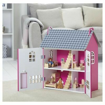 Wooden Dolls House Dollhouse, Pink Kids Girls Toy Playset with Dolls & Furniture