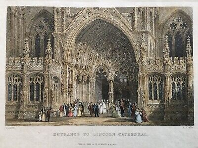 1837 Antique Print; Entrance to Lincoln Cathedral, Lincolnshire after T. Allom