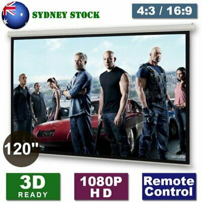 """120"""" Motorised Electric Projector Screen Home Cinema HD DVD 4:3 16:9 Projection#"""
