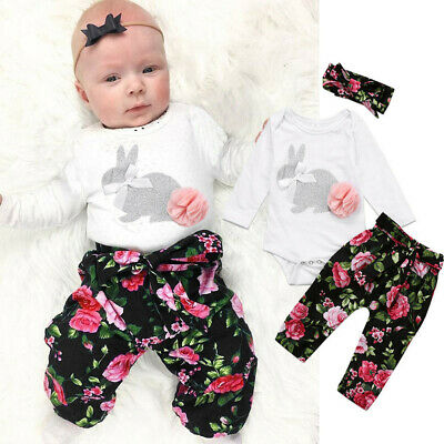 Infant Newborn Baby Girl Tops Romper Floral Pants Hairband Outfits Set Clothes