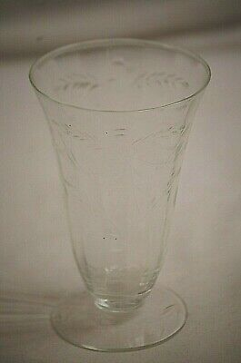 Vintage Depression Glass Parfait Tumbler w Etched Daisies Vertical Panel Footed
