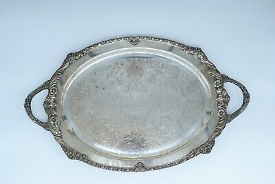 Vintage Sheridan Silver on Copper Oval Footed Serving Tray with Handles 21""