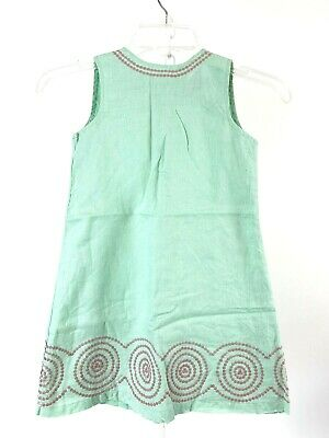 Mini Boden Girls Shift Dress Size 5 - 6 Y Green Pink Sleeveless Lined Spring
