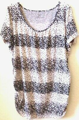 Womens XLTop Motherhood Maternity Black/White Cotton Blend Stretchy Pre-Owned
