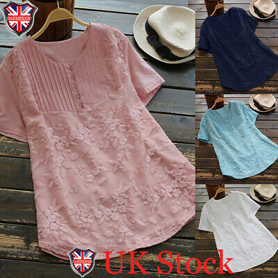 Women Summer Tunic Tops Ladies Short Sleeve Plain T-Shirt Blouse Plus Size 10-24