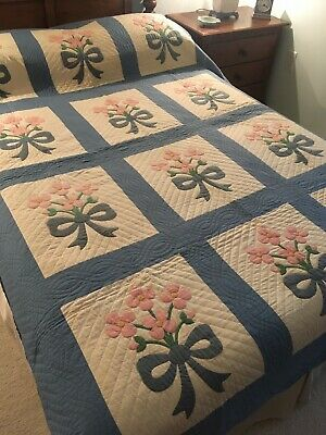Antique Floral Applique Quilt, Pink and Blue on White, #18530