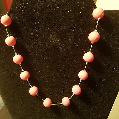 💎AWESOME Coral color GLass BEADED NECKLACE with silver-plated chain