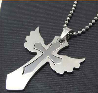 316L Stainless Steel Love Angel Wing Solid Cross Pendant Womens Mens Necklace