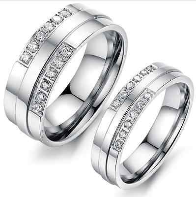 Top quality 316L Stainless Steel Silver Symmetrical Zirconia Love couple rings