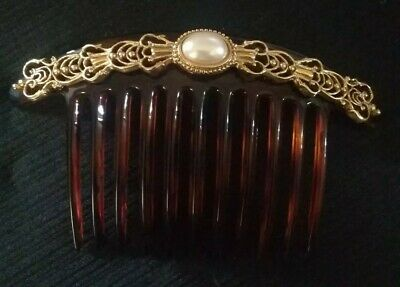 Vintage Large Goldtone & Tortoise Hair Comb W/Pearl Made In France