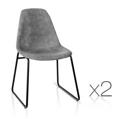 NEW 2x Durable PU Leather Padded Seat Home Office Cafe Herald Dining Chairs Grey