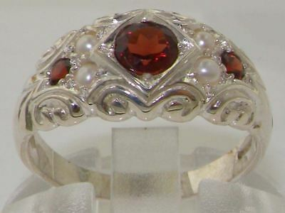 Rare Solid 925 Sterling Silver Natural Garnet & Pearl Ladies Band Ring all sizes