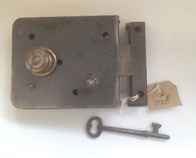 Salvaged Original Steel And Brass Rim Latch For External Door With Keep And Key