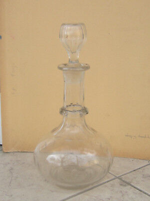 Antique Victorian Cut Glass Crystal Decanter Carafe whisky wine 19c.