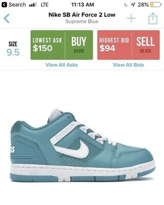 new product fdc21 4f9e1 Supreme x Nike SB Air Force 2 Size 9.5 Deadstock Teal