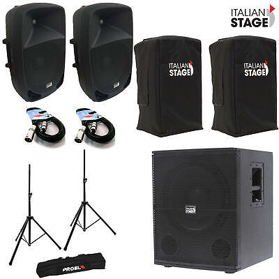 Italian Stage IS P115AMKII Coppia Casse + IS S115 Subwoofer + Cover Stativi Cavi