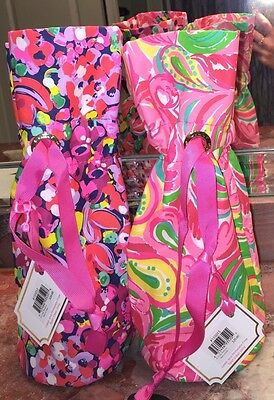 NWT Lilly Pulitzer Wine Tote Flamingo Wild Confetti All Nighter Bottle Gift Bag