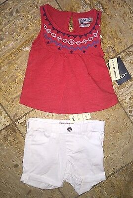 NWT Lucky Brand Red Outfit 2pc Set White Shorts Toddler Baby Girl's 12 Months